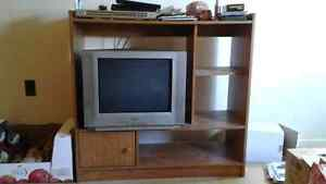 Oak press board tv stand, and TV 60$  for the pair.