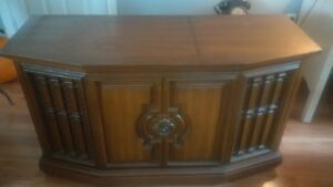 Cabinet record/cassette player and radio