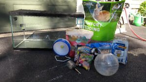 Large terrarium and accessories for gerbils, hamsters, mice
