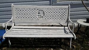 Awesome cast iron bench with barnboard wood