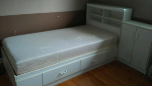 Twin size Captain's bed with memory foam Mattress and cabinet/ni