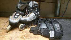 Men's Rollerblades (size 9.5) with Protective Gear