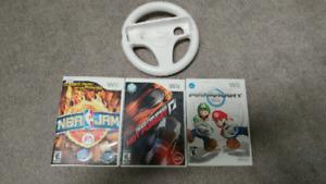 3 jeux Wii avec Volant