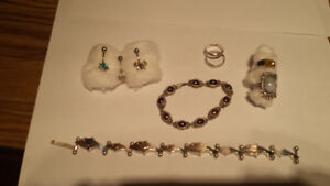 Assorted Pieces..2 Silver Bracelets,4 Silver Rings.3 Belly Rings