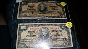 1937 100$ bill canadian. in great condition for the year!!!!!!!! London Ontario image 1
