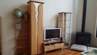 Hand crafted wall unit with display cabinet