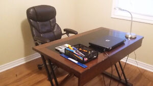 desk, study lamp and adjustable office chair