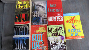 8 paperbacks(Clavell, Hoag,Connelly,Feehan,etc...)