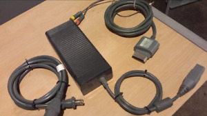 Xbox 360 power brick and video cable
