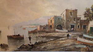 19TH CENTURY OIL ON CANVAS OF EUROPEAN FISHING PORT