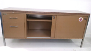 Steel credenza shelving unit with lockbox
