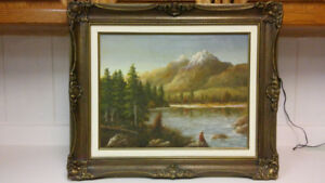 Beautiful old Sykes landscape oil painting