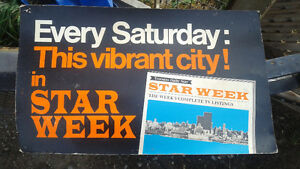 RARE 1950'S STAR WEEKLY CARDBOARD SIGN