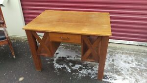 Antique Double Sided Solid Wood Desk Mission Style