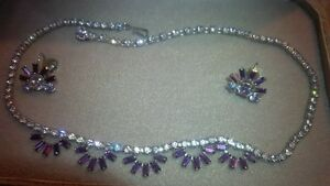 "Sherman ""purple/mauve"" necklace and earring set."