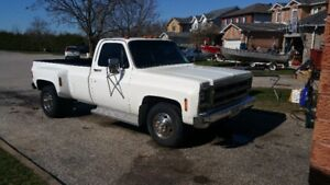 1976 White Chevy Dually Pick-up Truck