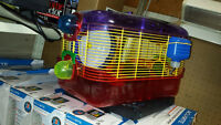 hamster guinea pig  cage with feeding water bottle food