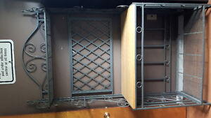 Iron/wood stand with wine rack