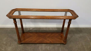 Solid Oak Coffee Table Set Beveled inlaid Glass Tops