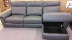 Sofa with power recliner and storage chaise.