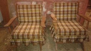 2 Retro Wooden Chairs with Cushions : 1 Rocker & 1 with Legs SET London Ontario image 1