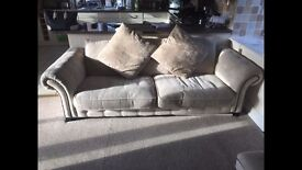 DFS cream sofa, foot stool and arm chair