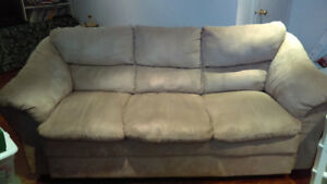 Sofa 3 places en tissu micro suède couleur champignon