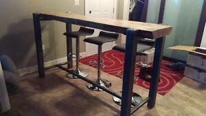 Bar top table live edge pine