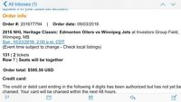 Two tickets to heritage classic Jets vs Oilers Sec 131 Row 7