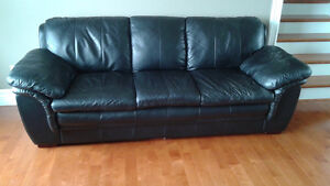 3-pc Black Leather Sofa, Loveseat, and Chair