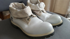 Black and White Timberland Roll Top Boots Size 11