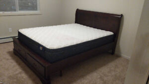 1 month old queen bed frame and mattress