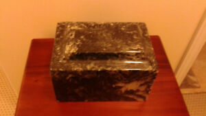Marble cremation urn - black with streaks of white