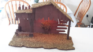 Wood Nativity Stable with interior light