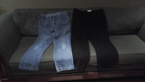 1 pair Calvin Klein dress pants and 1 pair ladies jeans
