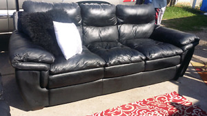 Free delivery genuine leather couch set