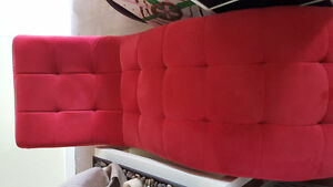Red velvet microsuede curved chaise lounge