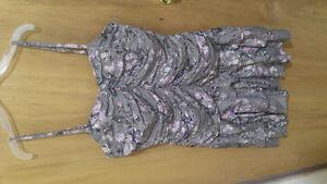 Grey and Purple Kensie Spaghetti Strap Dress