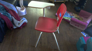 School type chair with attached table