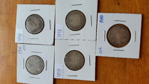 Canada Silver 25 cent Coins (5)