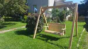 Handmade ceder swing set