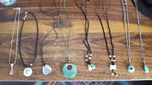 Assorted necklaces including a real Jade pendant
