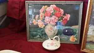Antique picture/matching porcelaine creamer. Kitchener / Waterloo Kitchener Area image 1