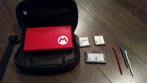 Red Nintendo DS Lite with 5 Games, Case, Stylus and No Charger.