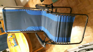 Blue outdoor folding lounge chair