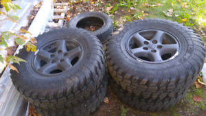 """31""""/10.50""""/15"""" jeep wheels and tires."""