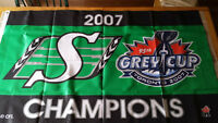 CFL Saskatchewan Rough Riders 2007 Grey Cup Champions Flag