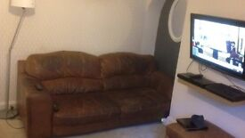 Brown real leather large sofas £150 Ono