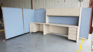 Spacious Desk Set with Cabinets & Partitions-Power and Lighting