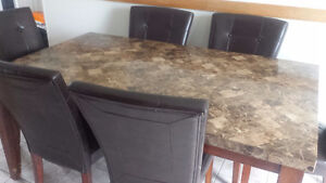 Real marble kitchen table w/ 6 leather chairs